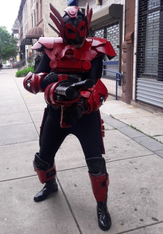 Cosplayer adding a bit of whimsy to this North Philly street during ECBACC -- CR Sparrow